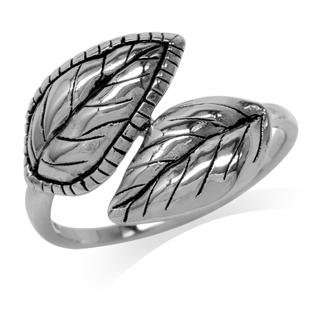 925 Sterling Silver Bypass Double Leaf Casual Thin Band Ring