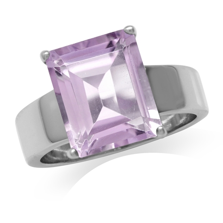 HUGE 5.15ct. Natural Amethyst White Gold Plated 925 Sterling Silver Solitaire Ring