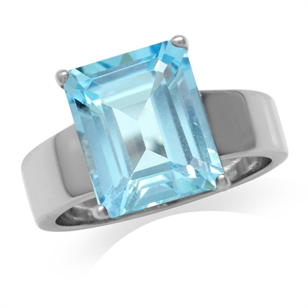 HUGE 7.24ct. Genuine Blue Topaz White Gold Plated 925 Sterling Silver Solitaire Ring