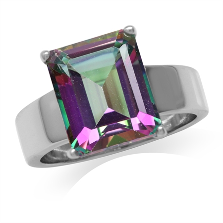 HUGE 7.28ct. Mystic Fire Topaz White Gold Plated 925 Sterling Silver Solitaire Ring