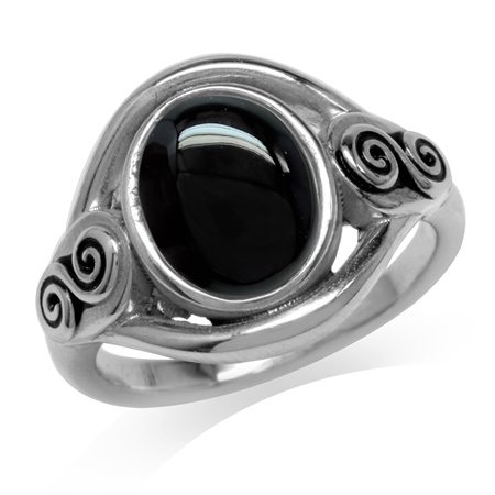 Created Black Onyx 925 Sterling Silver Swirl & Spiral Solitaire Ring