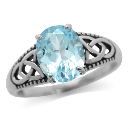 3.03ct. Genuine Blue Topaz 925 Sterling Silver Triquetra Celtic Knot Ring