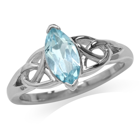 1.19ct. Genuine Blue Topaz White Gold Plated 925 Sterling Silver Triquetra Celtic Knot Ring