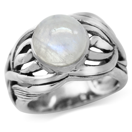 Natural Moonstone 925 Sterling Silver Filigree Leaf & Vine Bold Ring