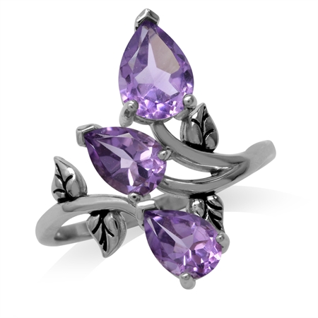 2.33ct. 3-Stone Natural Amethyst 925 Sterling Silver Bypass Leaf Ring