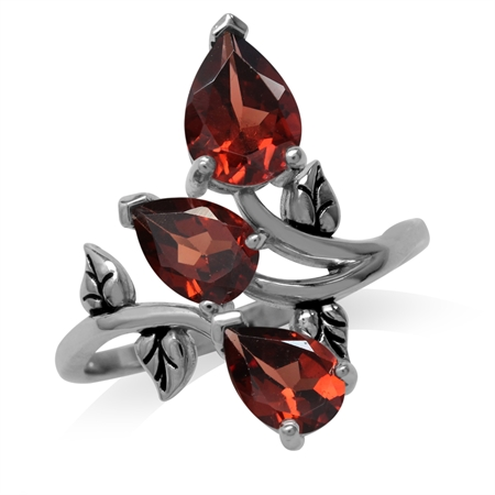 2.85ct. 3-Stone Natural Garnet 925 Sterling Silver Bypass Leaf Ring