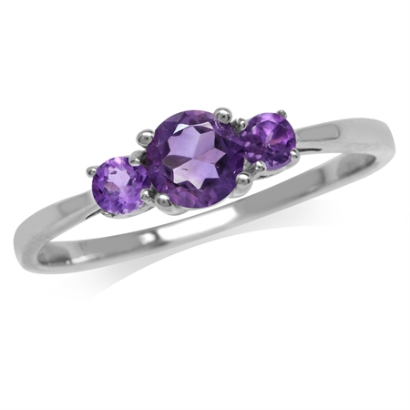 Petite 3-Stone Natural African Amethyst White Gold Plated 925 Sterling Silver Promise Ring
