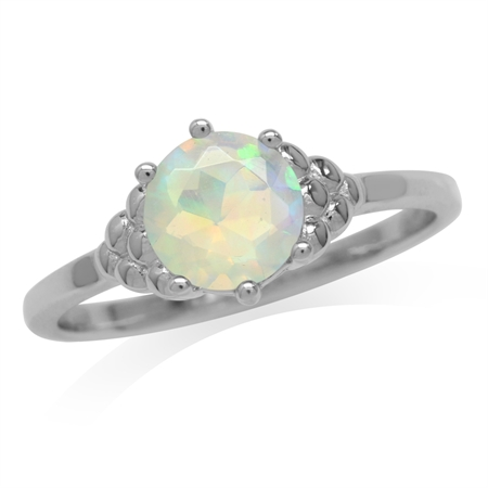 Genuine Opal White Gold Plated 925 Sterling Silver Engagement Ring