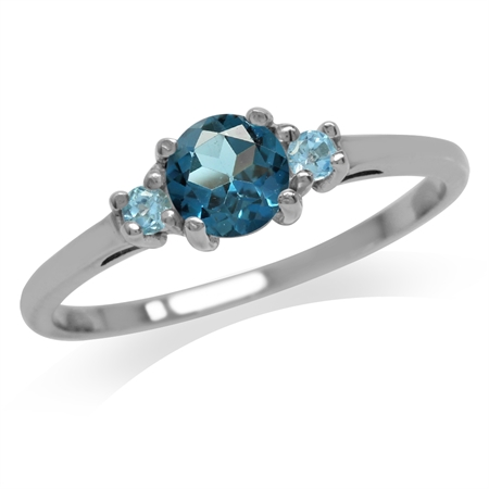 Petite Genuine London Blue & Swiss Blue Topaz White Gold Plated 925 Sterling Silver Ring