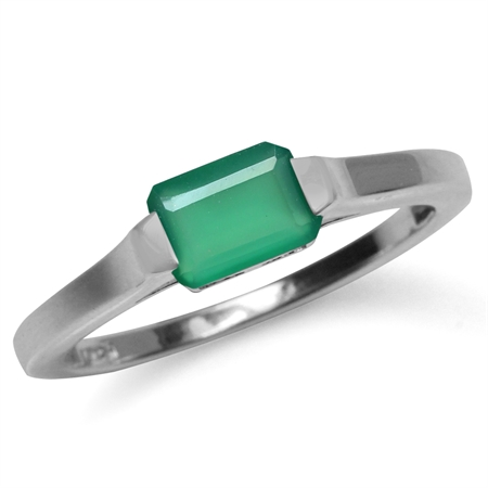 Natural Octagon Shape Emerald Green Agate White Gold Plated 925 Sterling Silver Solitaire Ring