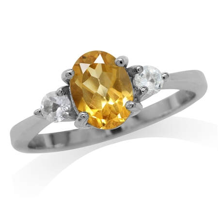 1.08ct. Natural Citrine & White Topaz Gold Plated 925 Sterling Silver Engagement Ring