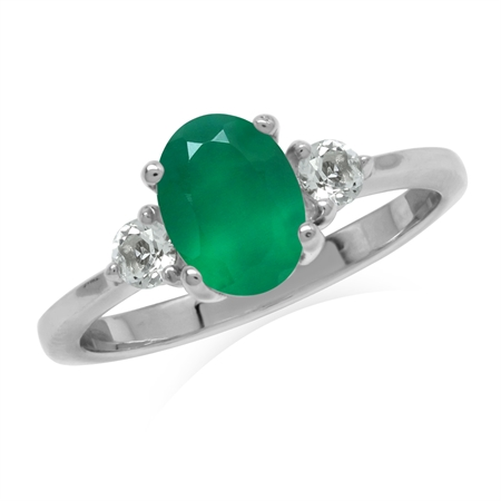 1.12ct. 8x6MM Oval Natural Emerald Green Agate & White Topaz 925 Sterling Silver Engagement Ring