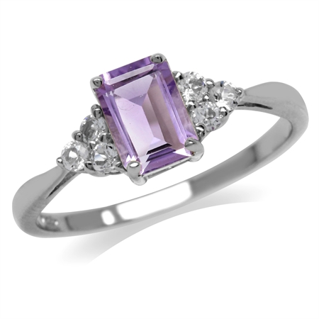 1.02ct. Natural Amethyst & White CZ 925 Sterling Silver Engagement Ring