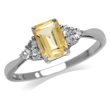 Natural Citrine & White CZ 925 Sterling Silver Engagement Ring