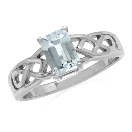 7x5MM Genuine Octagon Shape Aquamarine 925 Sterling Silver Celtic Knot Solitaire Ring