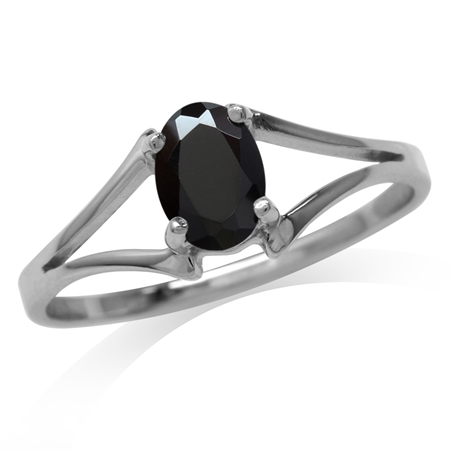 Natural Oval Shape Black Spinel White Gold Plated 925 Sterling Silver Solitaire Ring
