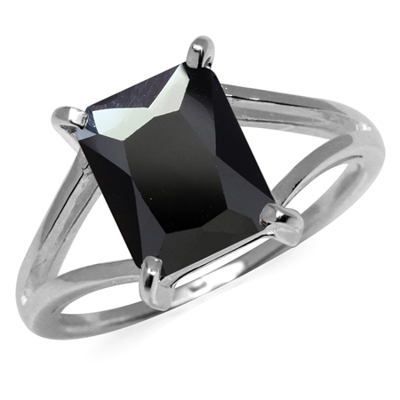 Octagon Shape Black CZ 925 Sterling Silver Solitaire Ring