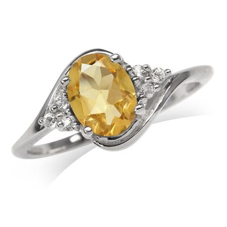 1.08ct. Natural Citrine White Gold Plated 925 Sterling Silver Engagement Ring