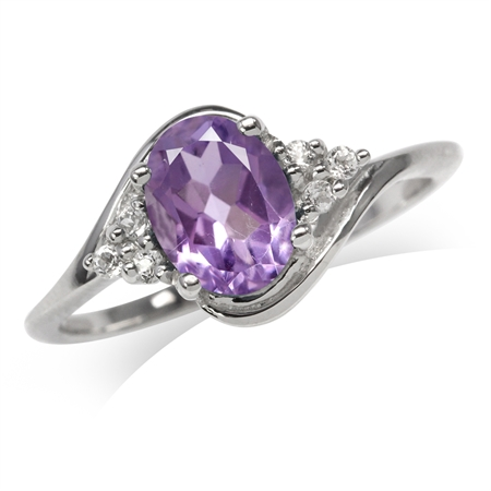 1.16ct. Natural Amethyst 925 Sterling Silver Engagement Ring