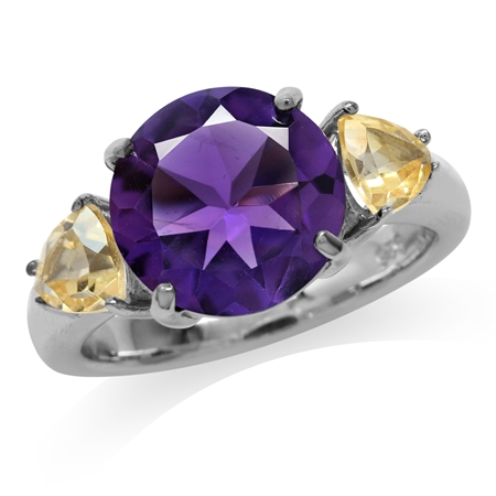 4.04ct. Natural Round Shape African Amethyst & Citrine 925 Sterling Silver Cocktail Ring