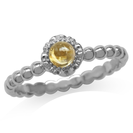 Cabochon Citrine White Gold Plated 925 Sterling Silver Flower Stack/Stackable Ring