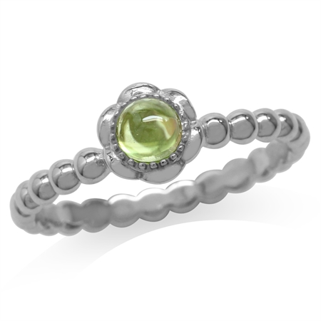 Cabochon Peridot White Gold Plated 925 Sterling Silver Filigree Flower Stack/Stackable Ring
