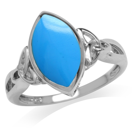 Created Blue Turquoise White Gold Plated 925 Sterling Silver Triquetra Celtic Knot Ring