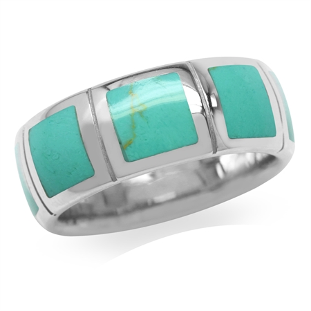 6MM Created Green Turquoise Inlay White Gold Plated 925 Sterling Silver Eternity Band Ring