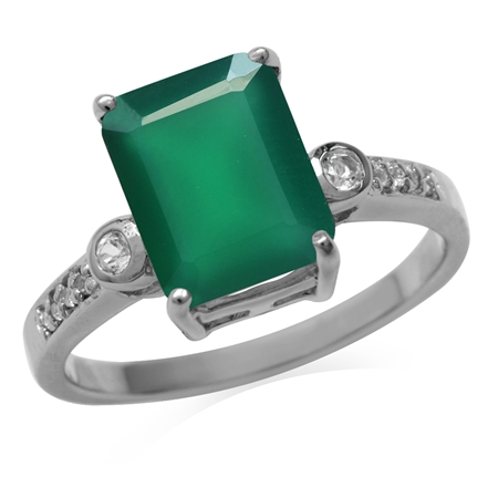 3.19ct. Natural Emerald Green Agate & White Topaz Gold Plated 925 Sterling Silver Ring