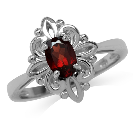 Natural Garnet White Gold Plated 925 Sterling Silver Victorian Style Flower Ring