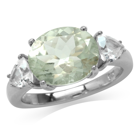 3.98ct. Natural Oval Shape Green Amethyst & White Topaz 925 Sterling Silver Cocktail Ring