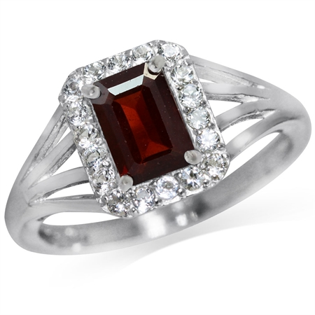 1.14ct. Natural Garnet & White Topaz Gold Plated 925 Sterling Silver Cocktail Ring