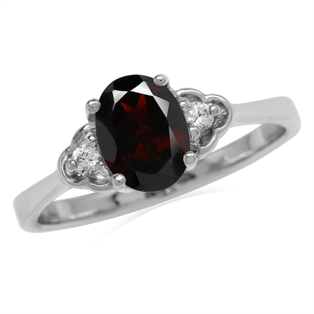 1.45ct. Natural Garnet White Gold Plated 925 Sterling Silver Engagement Ring
