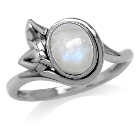Natural Oval Shape Moonstone 925 Sterling Silver Leaf Ring