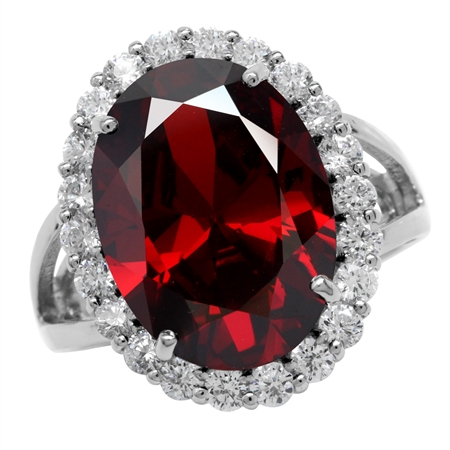 HUGE 18x13MM Oval Garnet Red CZ White Gold Plated 925 Sterling Silver Glamorous Cocktail Ring