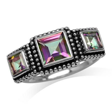 2.18ct. 3-Stone Square Shape Mystic Fire Topaz 925 Sterling Silver Bali/Balinese Style Ring