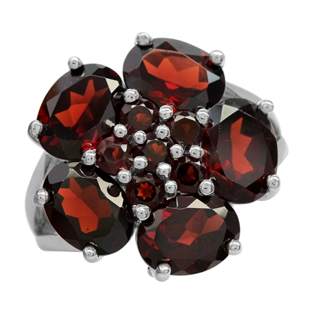 8.15ct. Natural Garnet White Gold Plated 925 Sterling Silver Flower Cluster Cocktail Ring