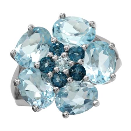 7.69ct Genuine Sky & London Blue Topaz 925 Sterling Silver Flower Cluster Cocktail Ring