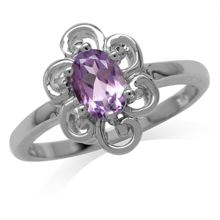 Natural Amethyst White Gold Plated 925 Sterling Silver Victorian Style Flower Ring