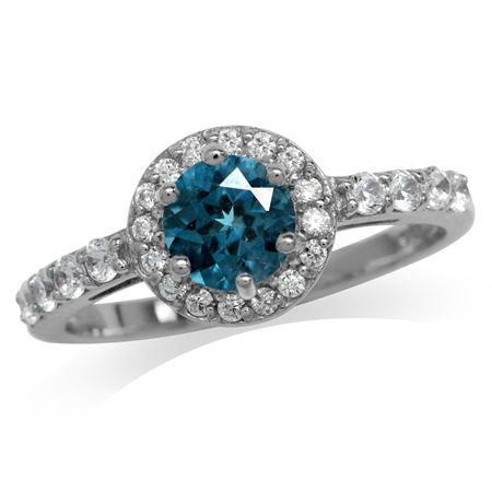 1.03ct. Genuine London Blue Topaz White Gold Plated 925 Sterling Silver Engagement Ring