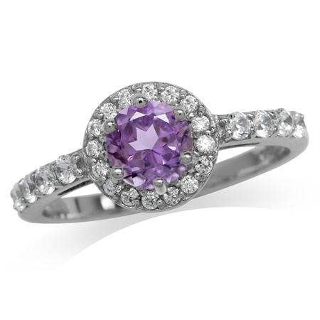 Natural Amethyst White Gold Plated 925 Sterling Silver Engagement Ring