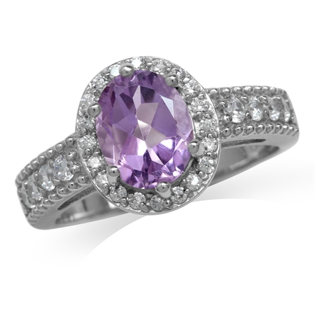 1.73ct. Natural Amethyst White Gold Plated 925 Sterling Silver Engagement Ring