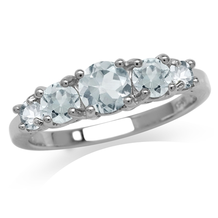 1.08ct. 5-Stone Genuine Blue Aquamarine White Gold Plated 925 Sterling Silver Ring