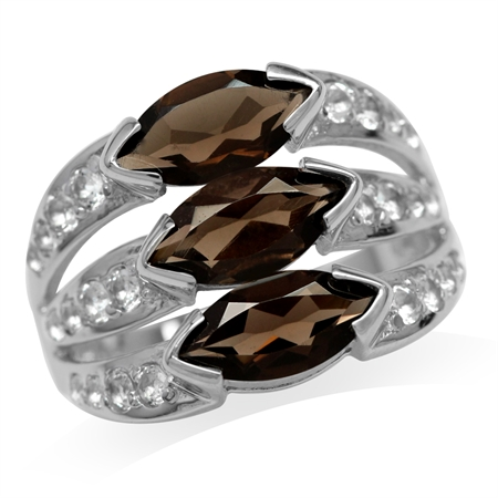 2.82ct. 3-Stone Natural Marquise Shape Smoky Quartz White Gold Plated 925 Sterling Silver Ring