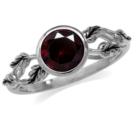 1.59ct. Natural Rhodolite Garnet 925 Sterling Silver Leaf Solitaire Ring