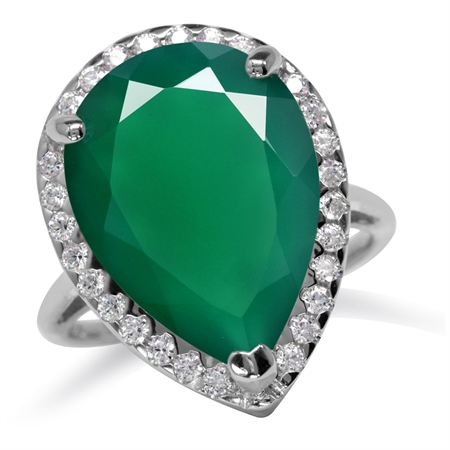 HUGE 9.86ct. 18x13MM Natural Pear Shape Emerald Green Agate 925 Sterling Silver Cocktail Ring