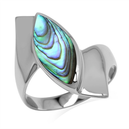 Marquise Shape Abalone/Paua Shell White Gold Plated 925 Sterling Silver Ring