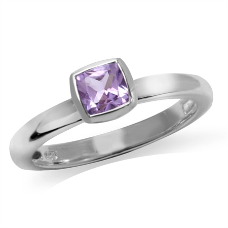 Genuine Cushion Cut Amethyst 925 Sterling Silver Stack/Stackable Solitaire Ring