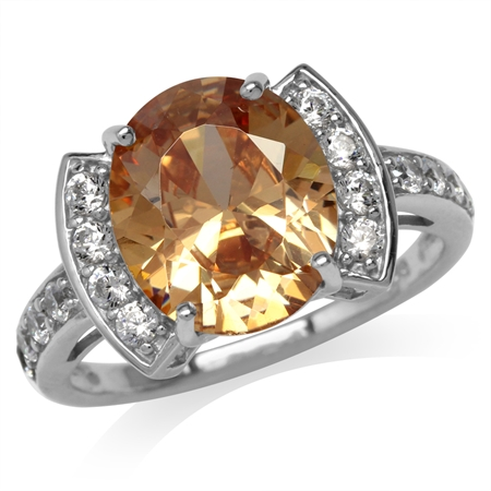 Champagne CZ White Gold Plated 925 Sterling Silver Cocktail Ring
