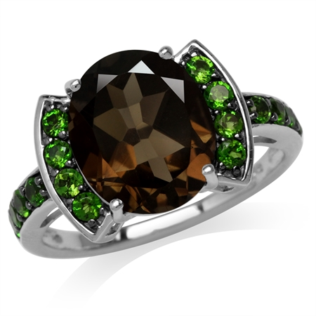 4.46ct. Natural Smoky Quartz & Green Chrome Diopside 925 Sterling Silver Cocktail Ring